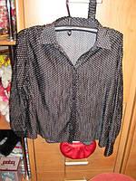 Блуза блузка ЧЕРНАЯ В ГОРОХ  50 16 L
