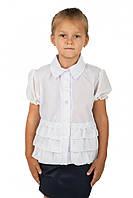 Школьная белая блуза с коротким рукавом