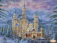 """Схема для вышивки бисером """"Замок Нойшванштайн зимой"""""""