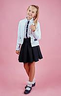 Школьный детский пиджак с отделкой из эко-кожи