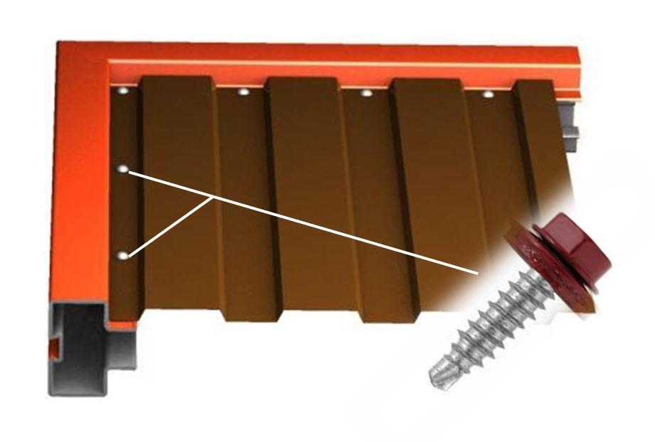 Рама ворот состоит из профильных труб 60х25мм и 20х20мм, сваренных между собой в т-образную конструкцию. К ней крепятся профильные листы с обеих сторон с помощью саморезов, окрашенных согласно таблицы цветов RAL.