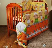 """Бортики в кроватку новорожденного- """"Барашек на желтом фоне"""""""