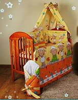"""Защита и комплект постели в кроватку новорожденного-""""Барашки на желтом фоне"""", фото 1"""