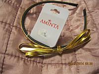 Обруч ободок заколка с бантиком новый золотой узкий бижутерия