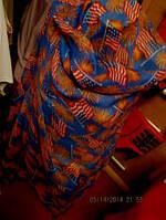 Шарф шарфик большой женский фирма палантин флаг CША 1м80 на 1м 06с
