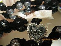 Бусы ожерелье шикарные  черные в сетке как жемчуг длинные с сердечком необычный дизайн
