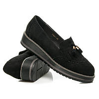Женские туфли (мокасины) замшевые черные с кисточками