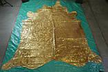 Шикарная большая коровья шкура с золотым металлик эффектом, фото 3