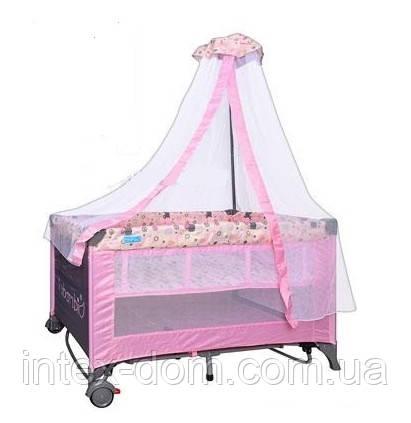 Кроватка - манеж Bambi (Metr+) М 0824, балдахин, пеленатор, два уровня