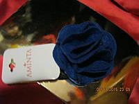 Заколка синий фетр роза новая брошь брошка резинка