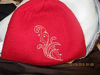 Шапка красная 50-54р детская теплая узор