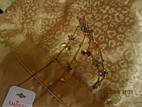 Цепочка цепь ожерелье бусы нежные с голубым золото