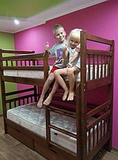 Кровать двухъярусная трансформер Стандарт с ящиками и бортиками массив, фото 3