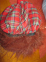 КЕПКА с рыжими волосами в клетку красная прикольная шапка карнавальная