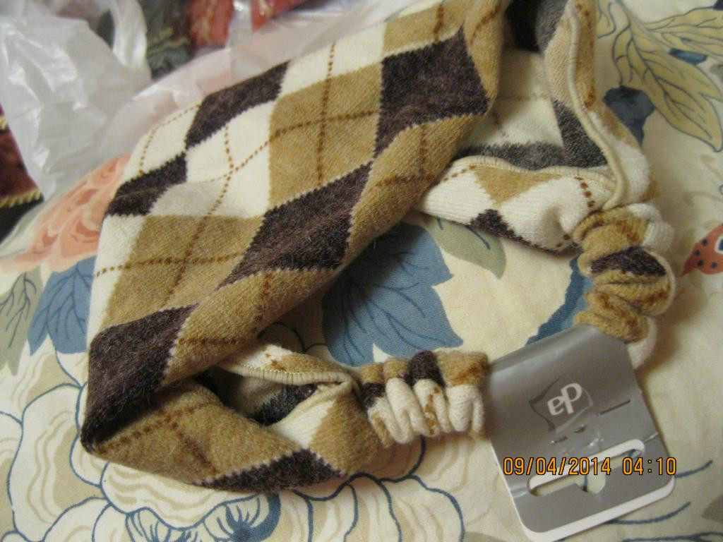 Повязка обруч заколка бежевая  в клетку под свитер неузкая франция