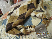 Повязка обруч заколка бежевая  в клетку под свитер неузкая франция, фото 1