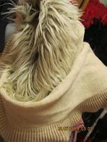 Шарф фирменный бежевый воротник мех отличный, фото 1