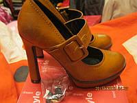 Туфли женские МОДНЫЕ 36р рыжие стильные удобные в носке под ретро