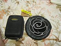 Кошелек косметичка круглая небольшая экокожа роза черная КЛАТЧ