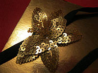 Повязка резинка обруч золотой  заколка цветок