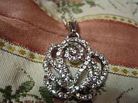 КОЛЬЕ подвеска цепочка ожерелье БУСЫ цветок камни бижутерия под серебро
