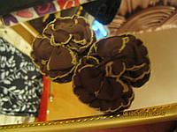 Фурнитура цветы лот=2 для декора цвет-шоколад для обуви