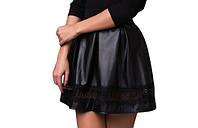 Женская юбка кожаная+ кружево р.  s-M черная