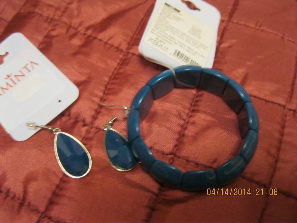 Браслет на резинке  и серьги синий новый набор бижутерия