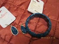 Браслет на резинке  и серьги синий новый набор бижутерия, фото 1
