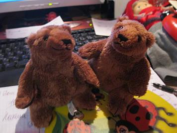 JOHN WEST игрушка мягкая коричневые медведь миша мишка набор =2 игрушки