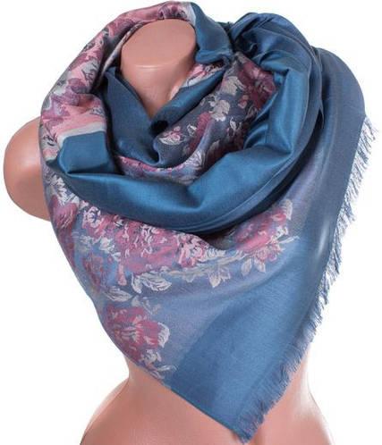 Модный женский двусторонний палантин из пашмины 178 на 71 см ETERNO ES2707-10-4 синий