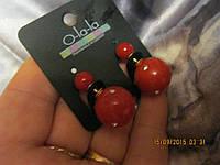 Серьги модные камушки красные под диор , фото 1