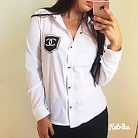 Белые женские блузки на кнопках CHANEL
