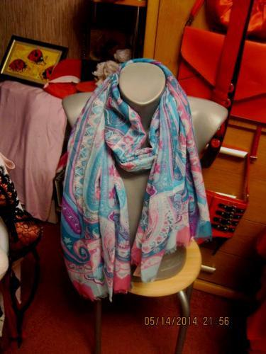 Шарф шарфик фирма палантин легкий голубой 1мx1м70с