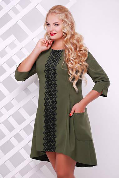 Платье трикотажное Милана с кружевом оливковое