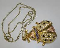 Бижутерия флешка шикарная Божья коровка жук 32Гб кулон с цепочкой под золото новая камни сваровски
