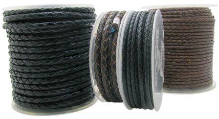 Кожа круглая плетеная черная d-3 мм