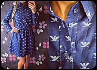 """Женское стильное джинсовое плтье-рубашка """"Armani"""""""
