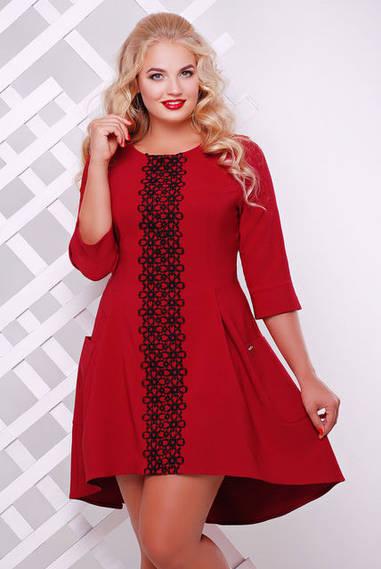 Платье трикотажное Милана с кружевом бордо
