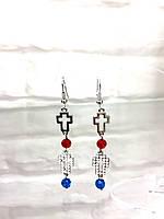 Серьги длинные крестики  с камнями  женская итальянская бижутерия