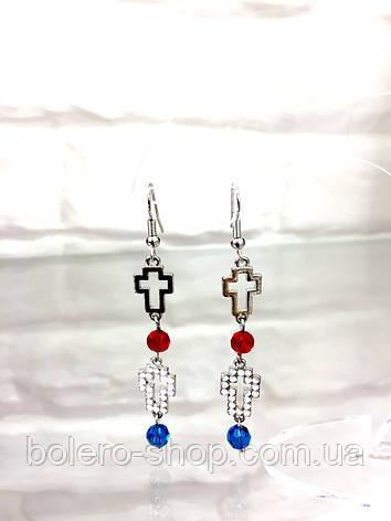 Серьги длинные крестики  с камнями  женская итальянская бижутерия , фото 2