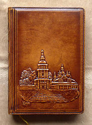 """Ежедневник А-5 светло коричневого цвета из натуральной кожи """" Михайловский собор """" - прекрасный подарок шефу"""