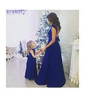 Набор платьев мама и дочка с открытой спинкой