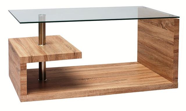 Makira I журнальный столик дерево стекло, фото 1