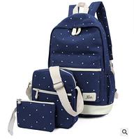 Рюкзак в горошек с сумкой и косметичкой.