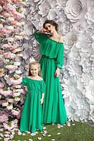 Набор мама и дочка длинные платье шифон