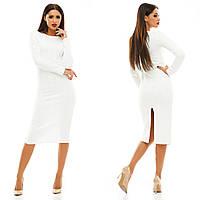 Белое платье миди с длинным рукавом