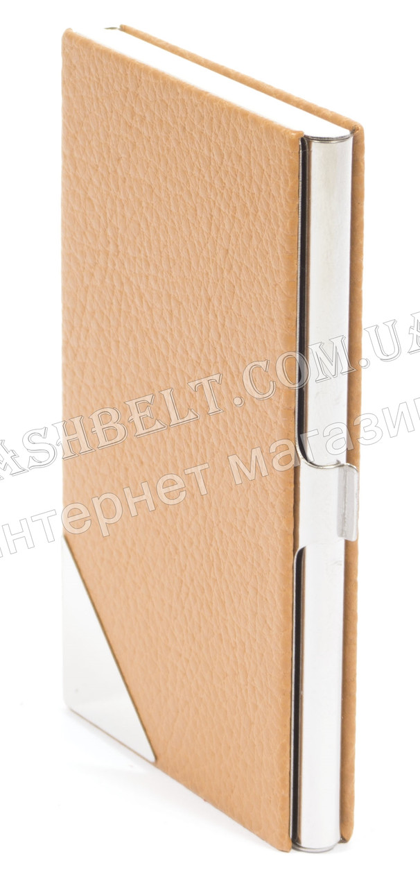 Стильная прочная тонкая визитница для своих визиток art. 2240 метал/кожа желтая
