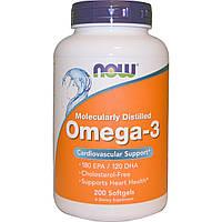 Рыбий жир для сердца, Omega-3 fish oil, Now Foods, 180 EPA/120 DHA, 200 капсул,