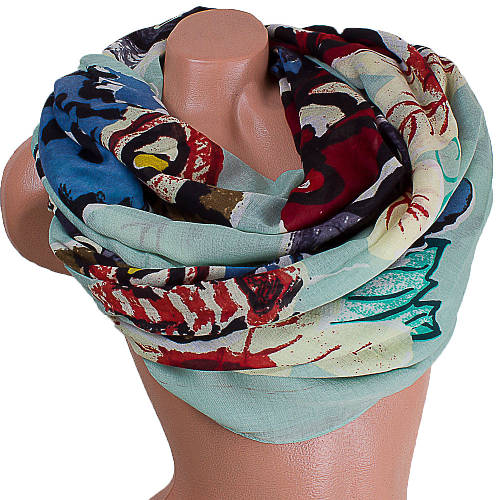 Гармоничный женский шарф из хлопка 184 на 87 см  ETERNO (ЭТЕРНО) ES0908-2-3 зеленый